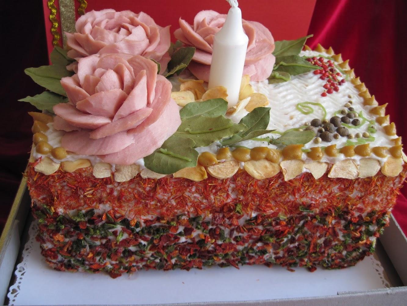 Торт из колбасы своими руками пошаговое на день рождения