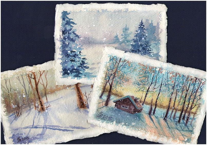 Зимняя открытка простая, алине