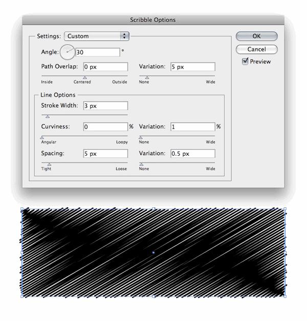 Использование эффекта Scribble в Illustrator