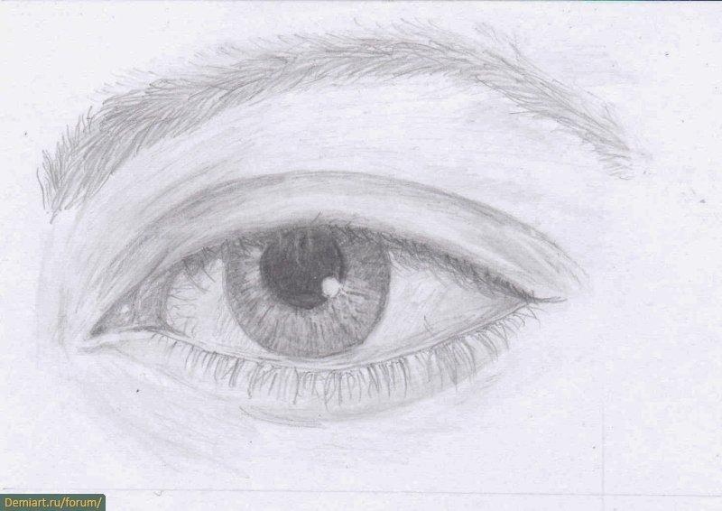Рисуем глаз карандашом.