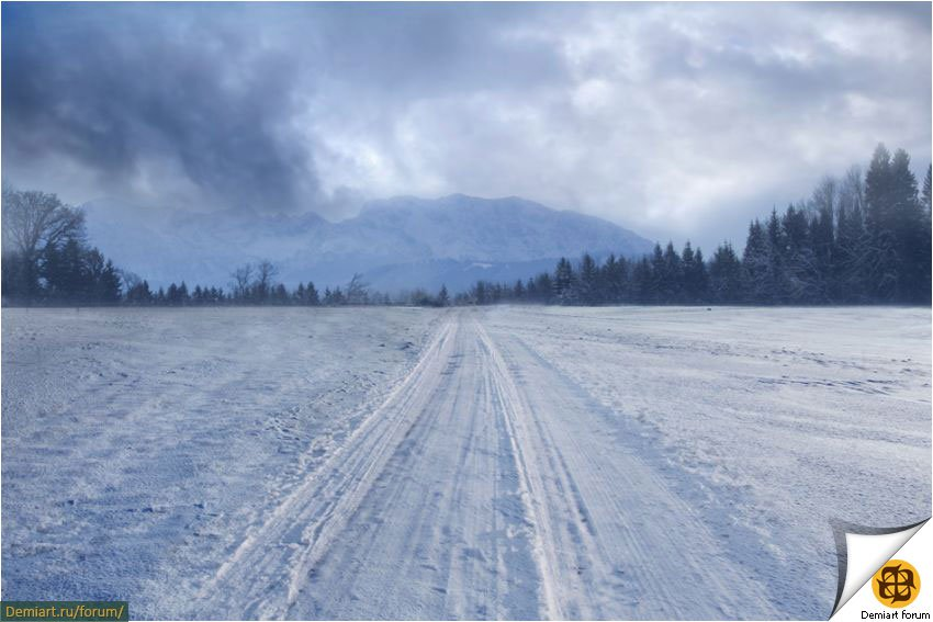 Создаем коллаж «Деревенская зима»