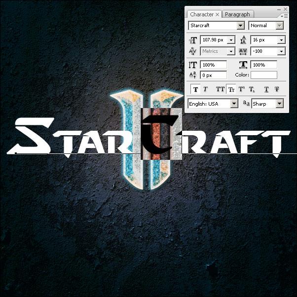 Текст в стиле «StarCraft II»