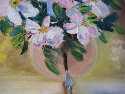 Цветы в бокале мастихином