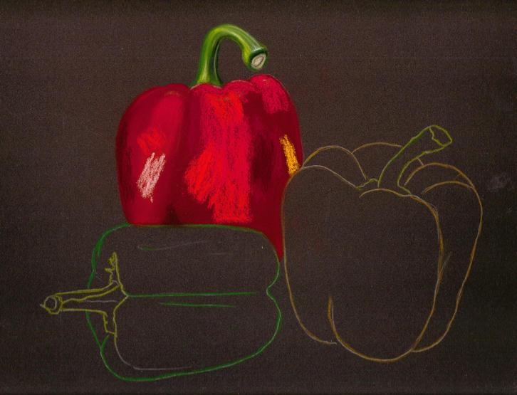 Рисуем сладкие перчики + яблочко