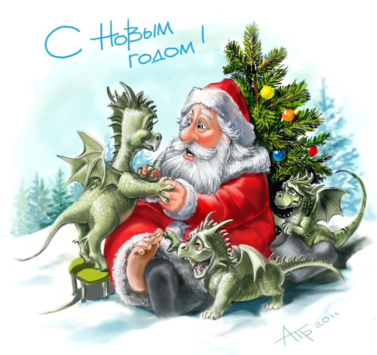 Прикольные ролл, открытка новогодняя 2012