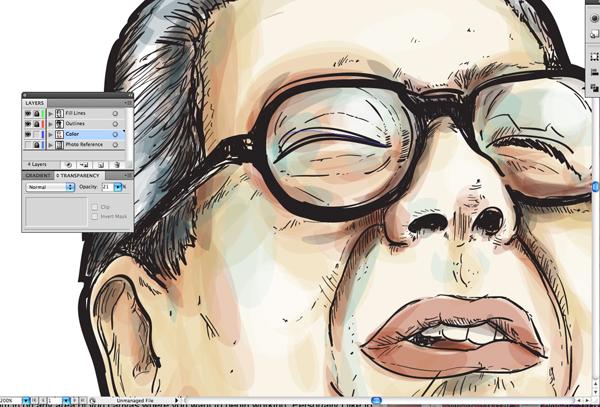 Рисуем портрет акварельным и маркерным стилем